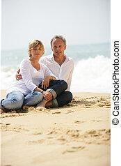 couple, plage, adulte