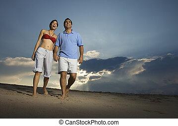 couple, plage.