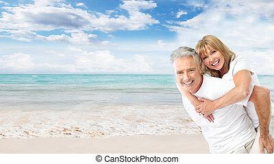 couple, plage., personne agee, heureux