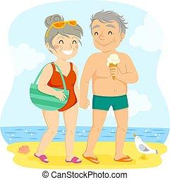 couple, plage, plus vieux