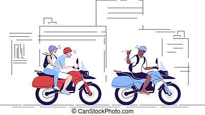 couple, plat, dessin animé, utilisation, indonésie, contour, vélos, griffonnage, commercial, caractère, tourisme, usage, transport, gens, touristes, motocyclettes, équitation, illustration., 2d, local, guide., city.