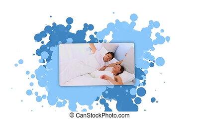 couple, projection, réveiller, femme