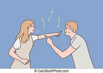couple, querelle, concept, famille, agression, conflit, divorce