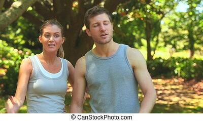 couple, quoique, jogging, coupure, prendre