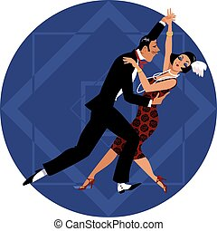 couple, retro, danse