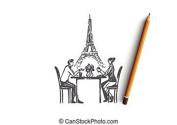couple, romance, main, dessiné, vector., isolé, sentiments, amour, concept., paris