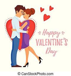 couple, romantique, étreindre