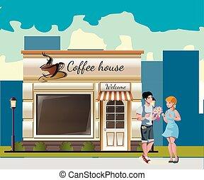 couple, rue, café, dîner, avoir