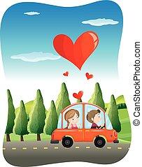 couple, rue, conduite