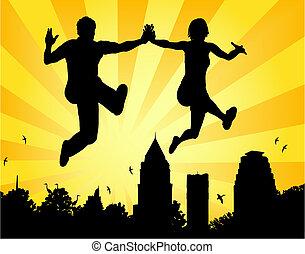 couple, saut