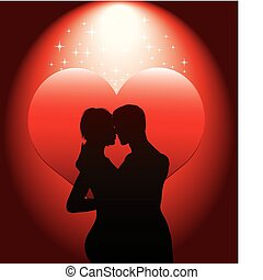couple, sexy, hea, rouges, silhouette