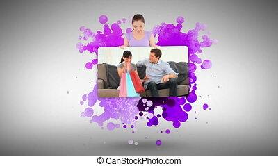 couple, shoppi, après, projection, femme