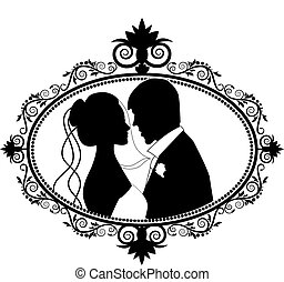 couple, silhouette, mariage