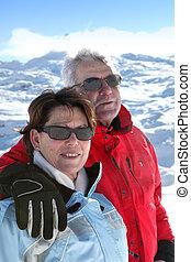 couple, ski, mûrir