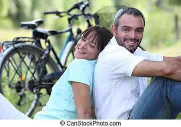 couple, tour vélo