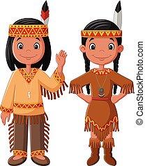 couple, traditionnel, indien amérique, déguisement, dessin animé, indigène