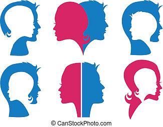 couple, vecteur, faces