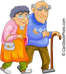 couple, vieux, heureux