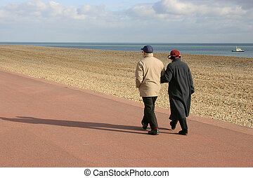 couple, vieux, marche