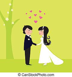 couple, wedding:, extérieur, avoir, mariage, nature