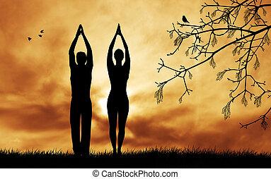 couple, yoga