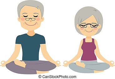 couple, yoga, personne agee