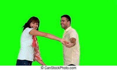 coupler danse, vert, écran, mignon
