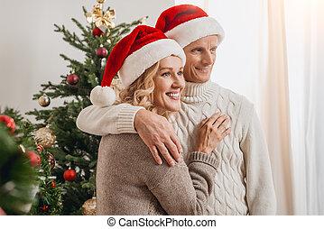 couples aînés, chapeaux, santa