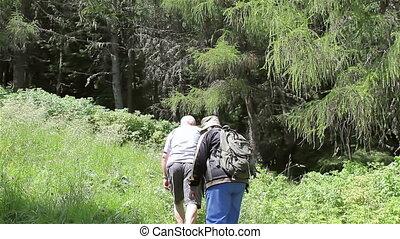 couples aînés, randonnée, touriste