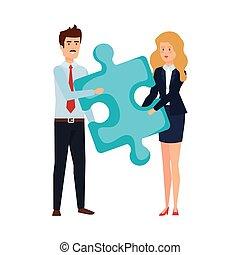 couples affaires, morceau, puzzle, levage