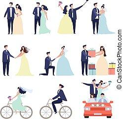couples, amour, caractères, bundle., heureux, préparation, mariée, vecteur, mariage, femme, mariage, mâle, cérémonial, célébration