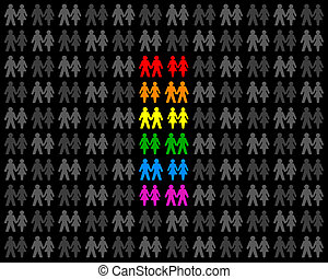 couples, arc-en-ciel, drapeau, homosexuel