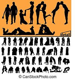 couples, baisers, silhouettes