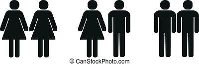 couples, différent, silhouette