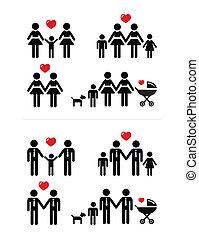 couples, esprit, lesbienne, famille, gay