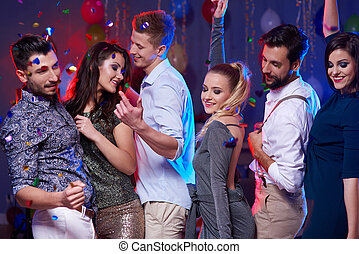 couples, haut, trois, fin, danse