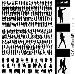 couples, hommes, silhouettes, femme, goups