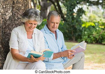 couples mûrs, arbre, livres, lecture, coffre, ensemble, séance
