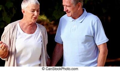 couples mûrs, main, marche