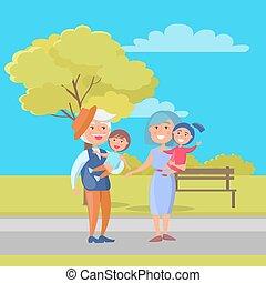 couples mûrs, papy, tenue, grand-maman, enfants