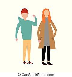 couples, marche, ensemble.