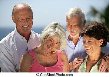 couples, personne agee, deux, côte