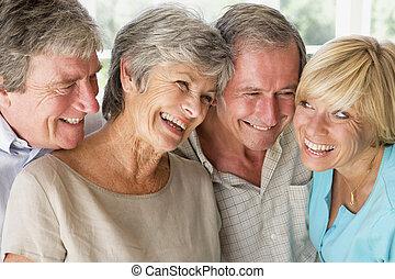 couples, sourire, intérieur, deux