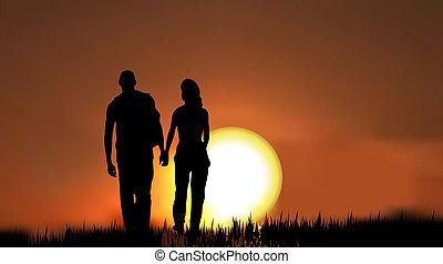 couples, sunset/sunrise, silhouette, contre