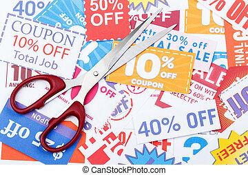 coupon, argent, économie, certificats, ciseaux