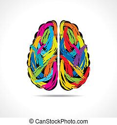 coups, cerveau, créatif, peinture