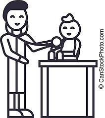 coups, docteur, pédiatre, illustration, vecteur, editable, signe, ligne, enfant, fond, icône, gosse