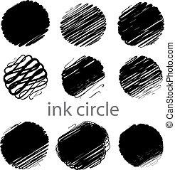 coups, grunge, (individual, brosse, ensemble, vecteur, cercle, objects).