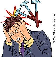 coups, marteau, mal tête, palpitation, man.