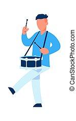 coups, parade, ou, caractère, player., marcher, percussion, vecteur, drummer., drum., dessin animé, performance, musicien, militaire, musical, bâtons, célébration, musique, homme, instrument., jouer, mâle